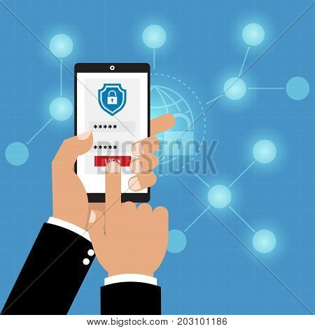 Authentication with phone security key and password login. Vector illustration muti factor authentication cyber security concept.