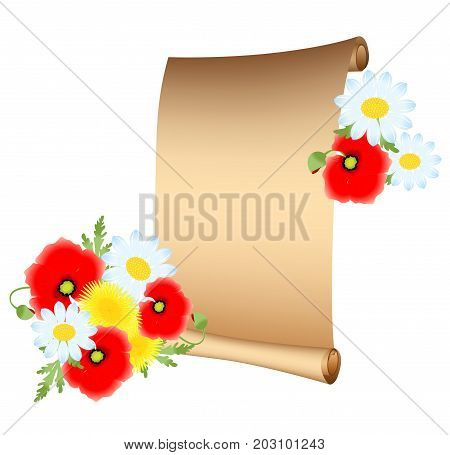 the illustration - scroll parchment- with beautiful peony flowers.