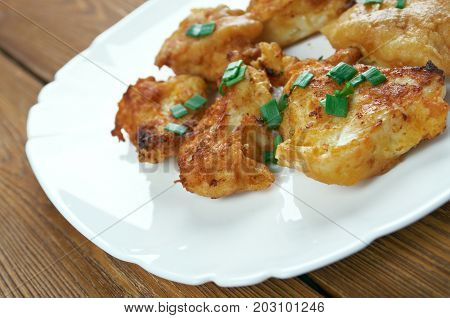 Buffalo Popcorn Chicken close up traditional meal