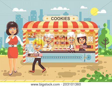 Stock vector illustration cartoon characters children, pupils, schoolboys and schoolgirls little business sale manufacture of baking cookies, muffins, stall meals, food, school task snack flat style