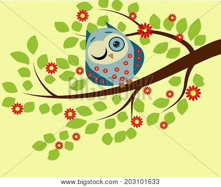 Peeping. A Blue Owl In Red Flowers With One Closed And One Open Eye Sitting On A Branch Of A Floweri