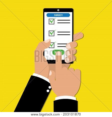 Businessman hand holding tablet with checklist online survey form. Vector illustration business online technology concept.