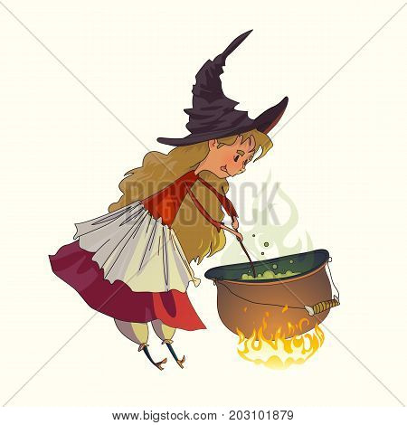 Cute little girl a witch cooks a witch's potion in a cauldron. Illustration for fairy tales and Halloween. Vector drawing isolated on white background