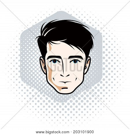 Vector illustration of handsome brunet male face positive face features clipart.