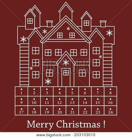 Cute Vector Illustration: Christmas Advent Calendar.