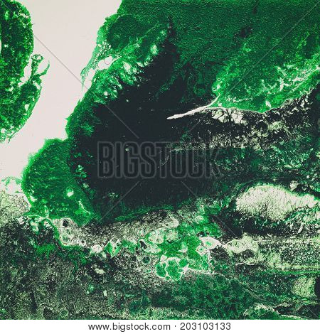 Liquid Acrylic paint, liquid artwork, abstract colorful background with colored painted cells, stains. green, white and black colors. Retro style