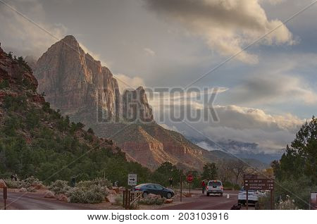 The Watchman Mountain of Zion National Park, Utah, in sunset