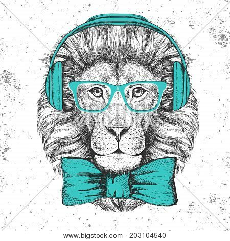 Lion hipster Abstract illustration on lion head hipster