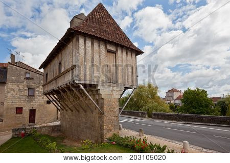 Picturesque view of Perigueux town in France. Traditional house with half-timbered walls.