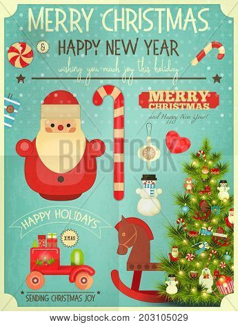 Christmas Greeting Card with Xmas Santa Claus Snowman and Christmas Tree. Retro Style. Vector illustration