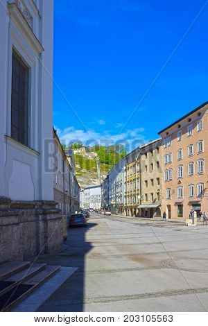 Salzburg, Austria - May 01, 2017: The old houses at old town in Salzburg, Austria on May 01, 2017