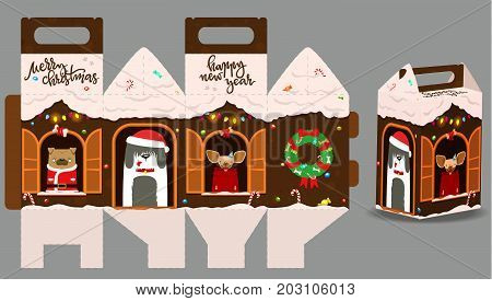 Printable Gift Gingerbread House With Happy Dogs. New Year Decor Template House. Vector Packaging De