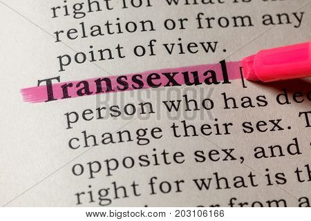 Fake Dictionary Dictionary definition of the word Transsexual. including key descriptive words.