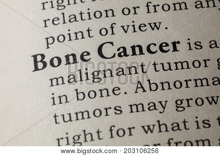 Fake Dictionary Dictionary definition of the word Bone Cancer. including key descriptive words.