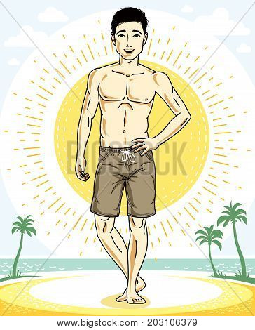 Handsome brunet man standing on tropical beach and wearing beachwear shorts. Vector human illustration. Summer vacation theme.
