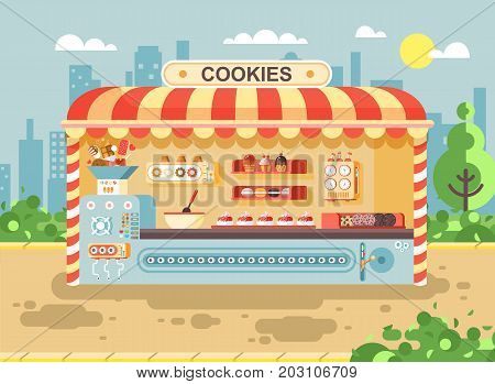 Stock vector illustration cartoon urban stall cooking business manufactures of baking cookies for sale, shelves with cupcakes, cakes, sweets, pastries, biscuits, muffins flat style on city background
