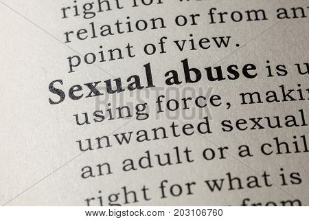 Fake Dictionary Dictionary definition of the word Sexual abuse. including key descriptive words.
