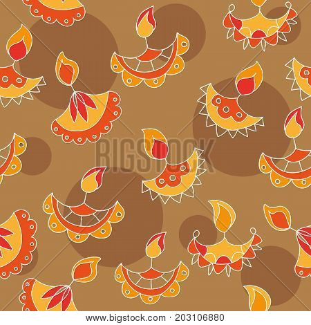 Vector hand drawn seamless pattern with Diwali symbols. Happy Diwali holiday background
