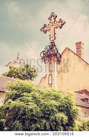 Szentendre Hungary. Religious architecture. Place of worship. Symbolic object. Red photo filter.