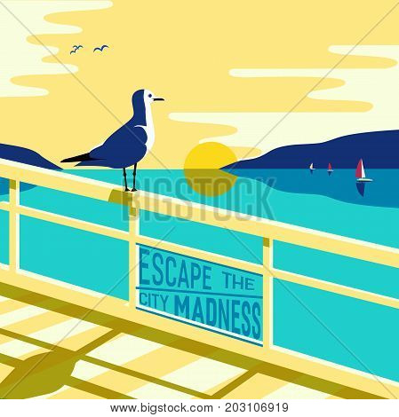Nautical poster concept. Blue sea scenic view. Marine yacht sailing on blue water. Hand drawn cartoon retro style. Escape the city. Maritime vector Illustration of recreation on seashore background