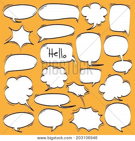 Big Set of Cartoon, Comic Speech Bubbles, Empty Dialog Clouds in Pop Art Style.