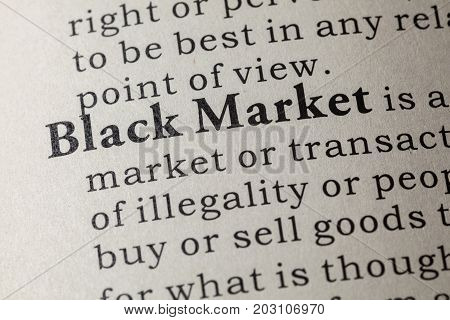 Fake Dictionary Dictionary definition of the word black market. including key descriptive words.