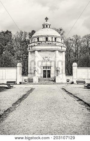 Mausoleum of The Andrassy family near castle Krasna Horka Slovak republic. Architectural theme. Black and white photo.
