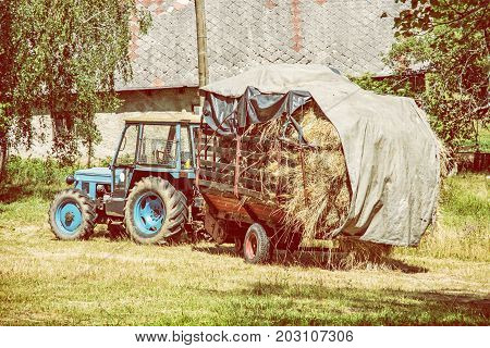 Old tractor with hay. Agricultural scene. Seasonal rural scene. Yellow photo filter.
