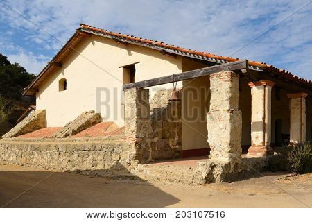 LOMPOC, CALIFORNIA - SEPTEMBER 21, 2016: Residence Building at La Purisima Mission. The covered walkway runs the length of the Residence Building
