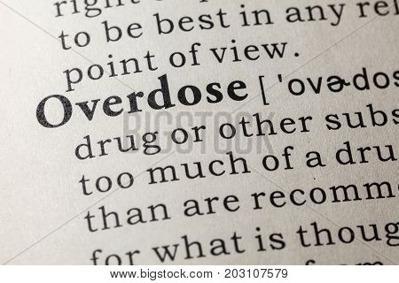Fake Dictionary Dictionary definition of the word overdose. including key descriptive words.