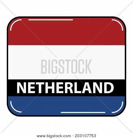 National flag and ensign of the Republic of Netherland.European country.European Union.Irish tricolour.Concept of design of a poster, banner,icon or the leaflet for the website or a mobile application