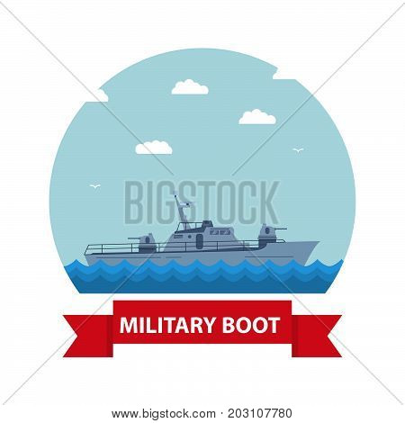 Icon with the fighting boat in flat style.The military boat in flat style battleship.Modern fighting patrol ship. Boundary gun boat. Naval frigate.