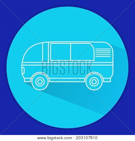 Icon with the van in flat style.Retro the van for travel. Tourist vehicle.
