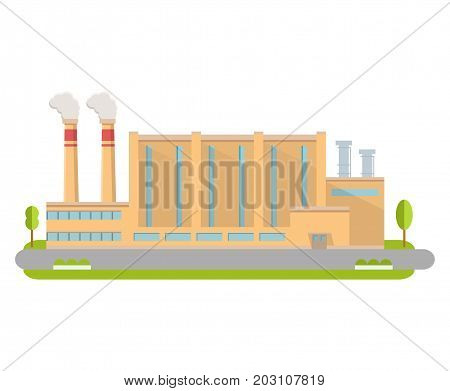 Industrial factory in flat style a vector.Manufacturing engineering brick building. The plant building with pipes.Road tree window facade. Industrial production.Industrial design.Mass production plant