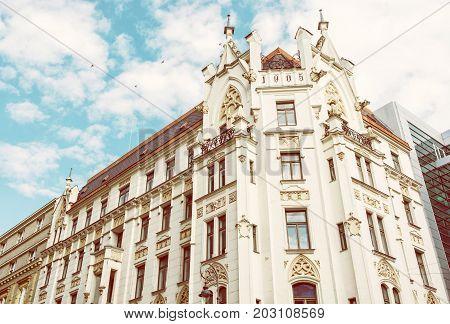 Historic building in the center of Brno Moravia Czech republic. Architectural scene. Travel destination. Beauty photo filter.