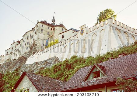 Cesky Sternberk is a Bohemian castle of the mid-13th century located within the village with the same name of the Central Bohemian region in Czech republic. Yellow photo filter.