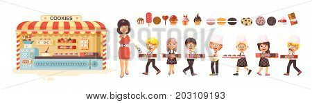 Stock vector illustration cartoon isolated characters children, pupils, schoolboys, schoolgirls business sale of baking cookies, stall with muffins, cupcake, cake, pastries flat style white background