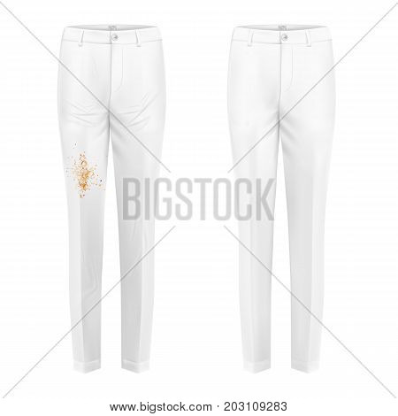 Pare of dirty, rubbed with coffee blotch and ironed, shiny clean white womens pants realistic isolated vector. Clothing before after washing, stain removal concept for landry, dry-cleaning advertising