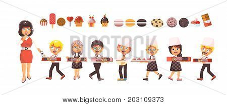 Stock vector illustration cartoon isolated characters children, pupils, schoolboys and schoolgirls little boys girls sale baking cookies, muffins, cupcake, cake, pastries flat style white background