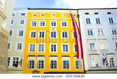 Salzburg, Austria - May 01, 2017: Birthplace of Mozart in Salzburg at Austria, Salzburg on May 01, 2017