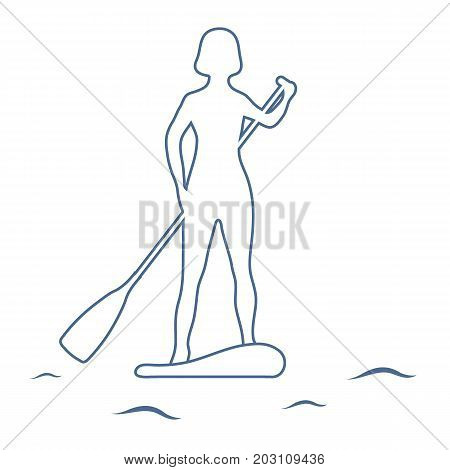 Female Silhouette On Stand Up Paddle Board. Sup.