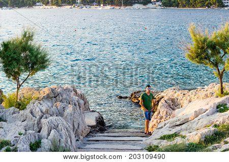 The stairs leads to the sea in Makarska, Croatia