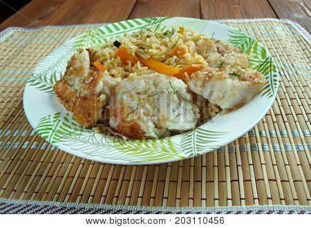 bal?k plov - fish pilaf.Azerbaijan cuisine , close up meal poster