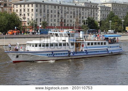 Moscow Russia - July 20 2017: Pleasure boat sails along the Moscow River.