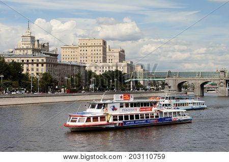 Moscow Russia - July 20 2017: Two modern pleasure boat sails along the Moscow River.