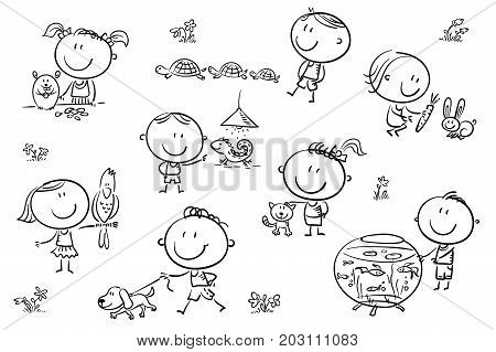 Happy cartoon sketchy kids with different pets like a puppy a cat a lizard a parrot and others. No gradients used easy to print and edit. Vector files can be scaled to any size.