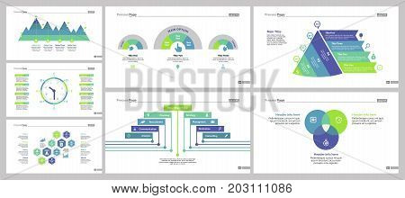 Infographic design set can be used for workflow layout, diagram, annual report, presentation, web design. Business and planning concept with process, timing, Venn and percentage charts.