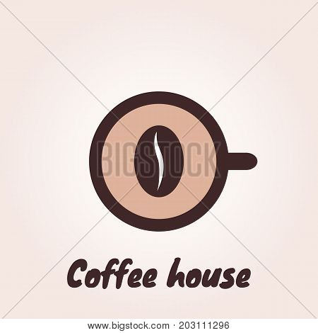 Top view of a cup of coffee whit coffee bean. Vector logo template for cafe restaurant menu coffee shop. Icon of coffee cup.