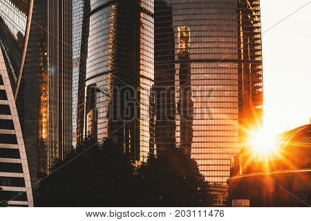 Cluster of business and office skyscrapers called