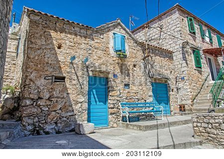 Traditional old house in Solta island Croatia. Travel destination. Summer vacation.